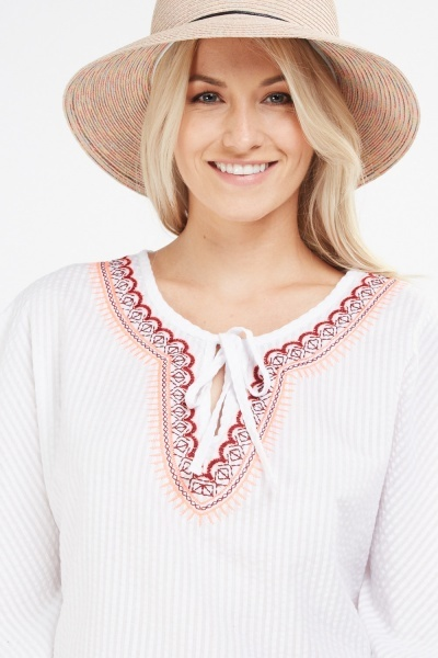 Embroidered Textured Kaftan Top