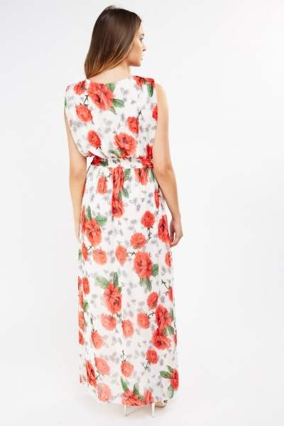 Flower Print Sheer Maxi Dress
