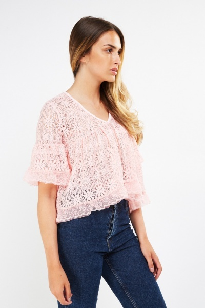 Laser Cut Lace Crop Top
