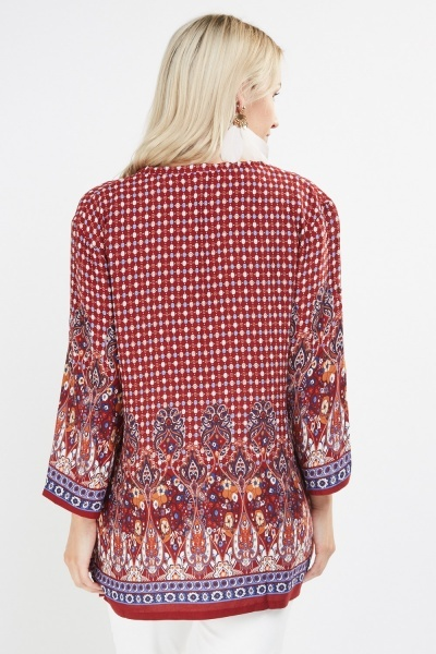 Ornate Print Flared Tunic Top