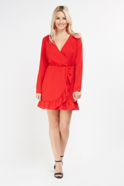 Ruffle Overlay Mini Wrap Dress