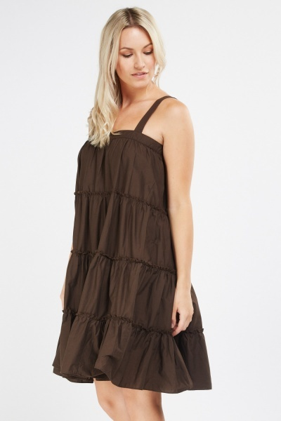Strappy Frilly Tiered Tunic Dress