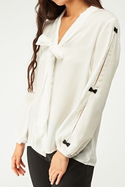 Bow Trim Detailed Sleeve Blouse