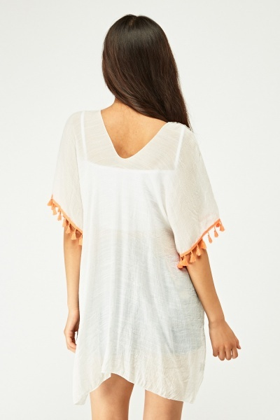 Embroidered Tassel Trim Beach Cover Up