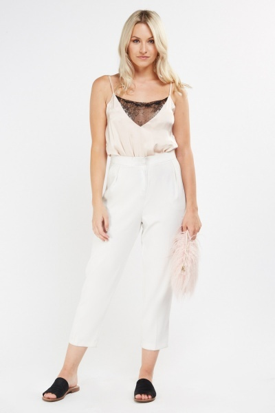 Lace Insert Sateen Bodysuit