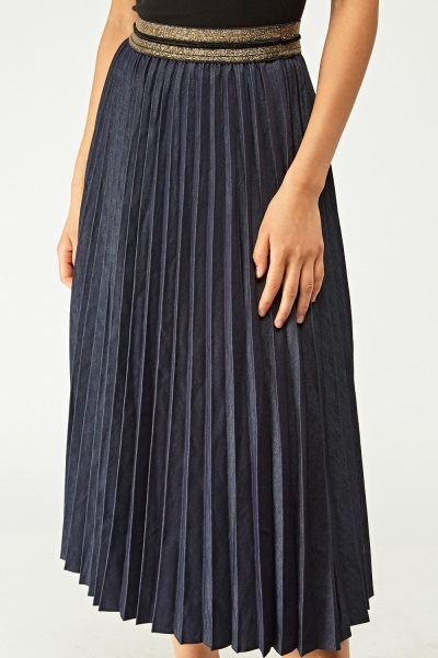 Pleated Denim Midi Skirt
