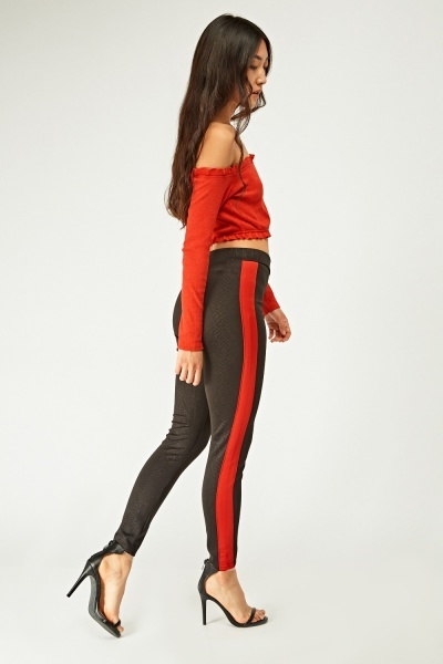 Snake Skin Print Stripe Side Leggings