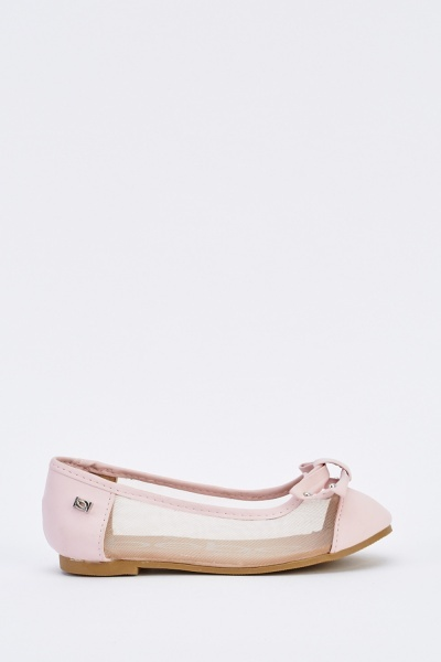 Kids Bow Contrasted Ballet Pumps