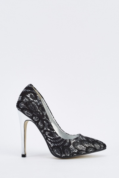 Sequin Lace Contrast Court Heels