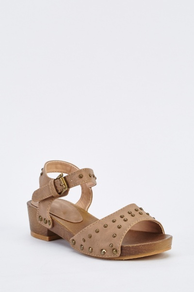 Studded Low Wedge Sandals