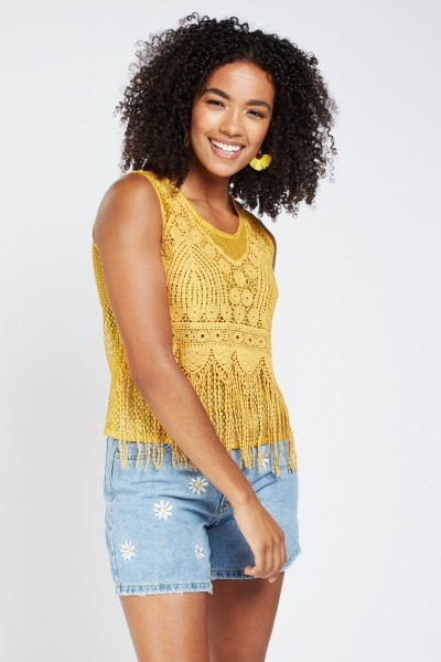 Crochet Lace Fringe Overlay Top