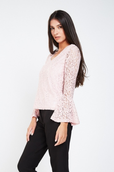 Flute Sleeve Lace Top