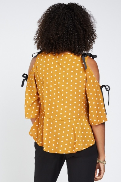 Polka Dotted Cut Out Sleeve Top