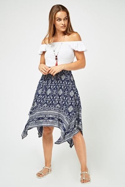 Bandana Print Asymmetric Skirt