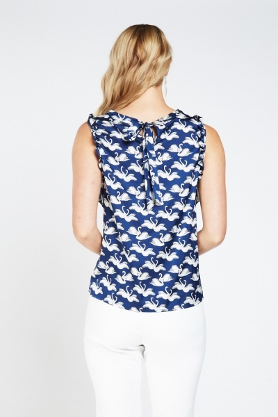 Swan Printed Frilly Sateen Top