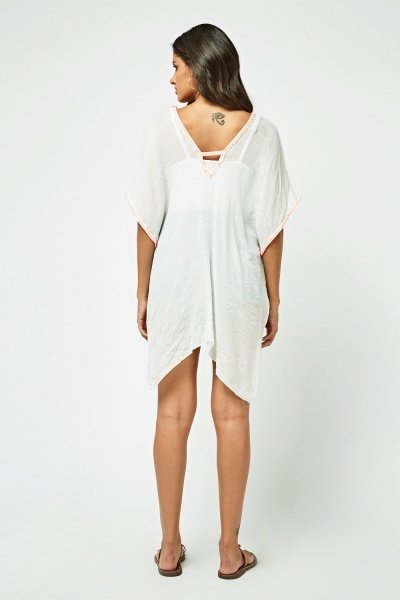 Beaded Pom-Pom Trim Beach Cover Up