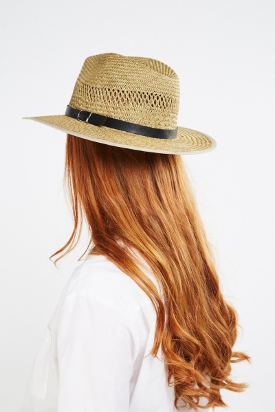 Buckled Trim Panama Hat