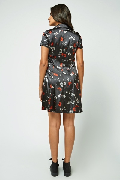 Floral Print Sateen Shirt Dress