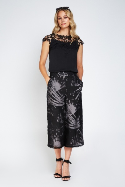 Laser Cut Lace Insert Chiffon Top