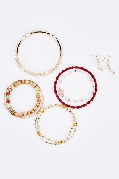 Pack Of 4 Bracelets And Earrings Set