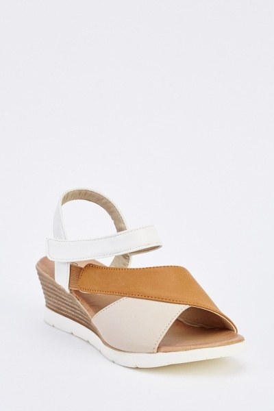Faux Leather Wedge Multi Sandals
