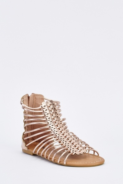 Metallic Gladiator Ankle Sandals