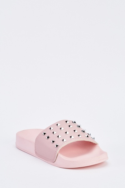 Pink Studded Spiked Sliders