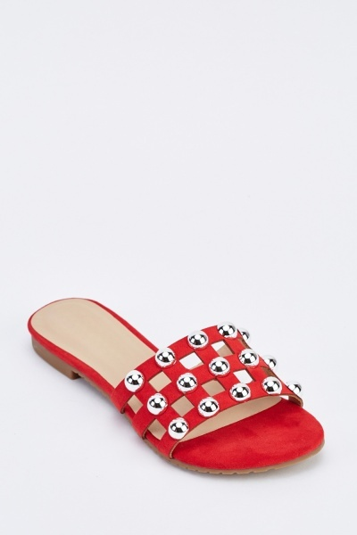 Studded Cut Out Slider Shoes
