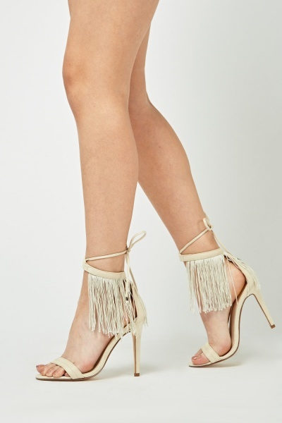 Suedette Fringed Heeled Sandals