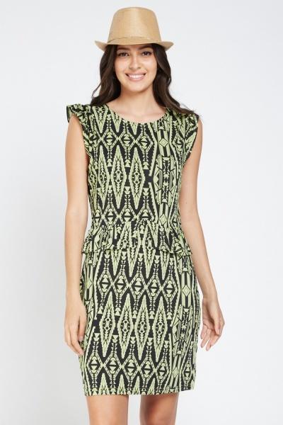 Aztec Print Frilly Peplum Dress