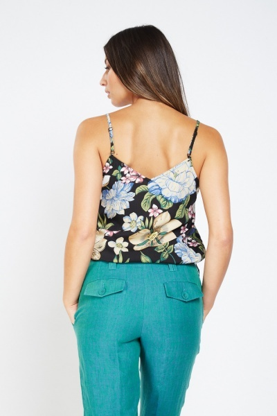 Botanical Floral Lace Trim Camisole Top