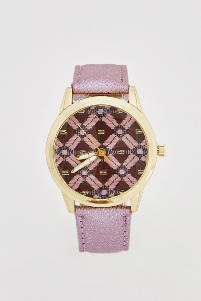 Contrast Strap Printed Watch