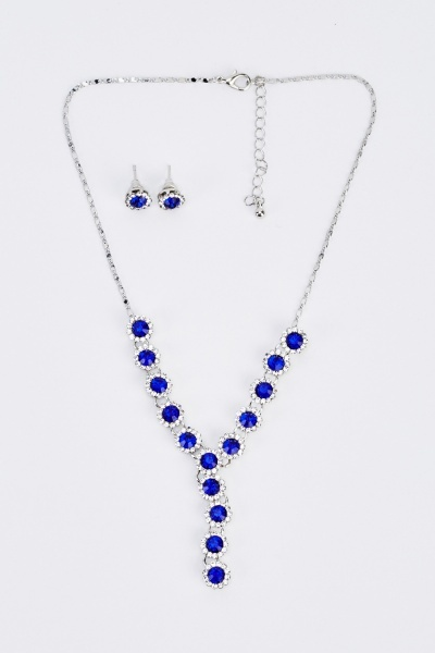 Diamonte Y-Necklace And Earrings Set