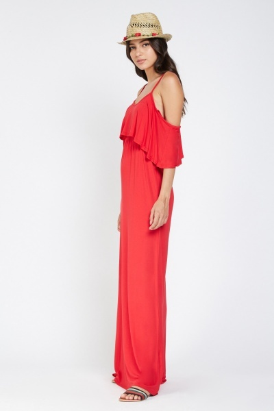 Ruffle Overlay Maxi Dress