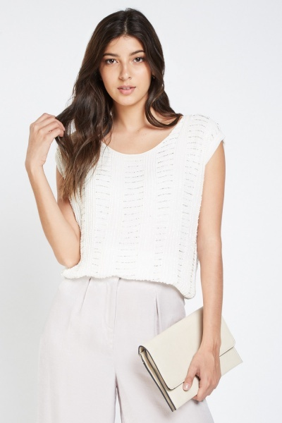 Sequin Embellished Chiffon Overlay Top
