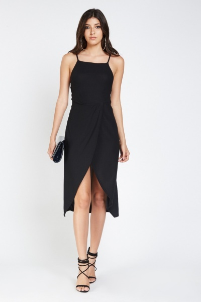 Slit Wrap Front Asymmetric Dress