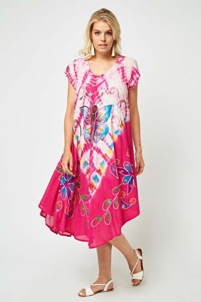 Butterfly Tie Die Print Tent Dress