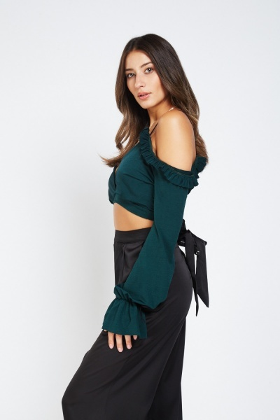 Frilly Cold Shoulder Crop Wrap Top