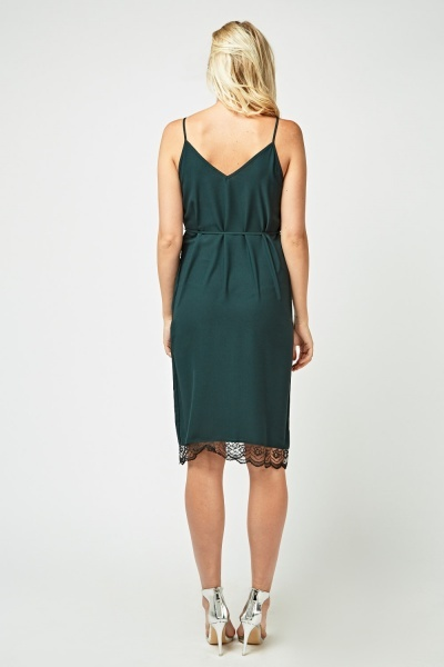 Lace Trim Cami Slip-On Dress