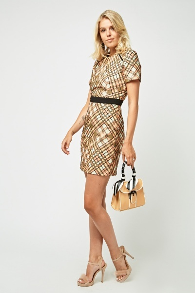 Metallic Insert Printed Mini Dress