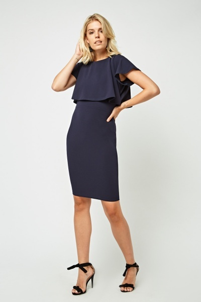 Overlay Top Midi Bodycon Dress