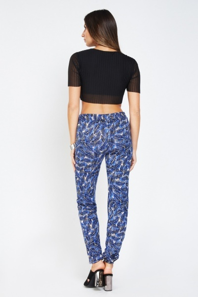 Printed Royal Blue Light Trousers