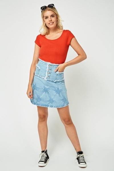 Raw Edge Trim Denim Skirt