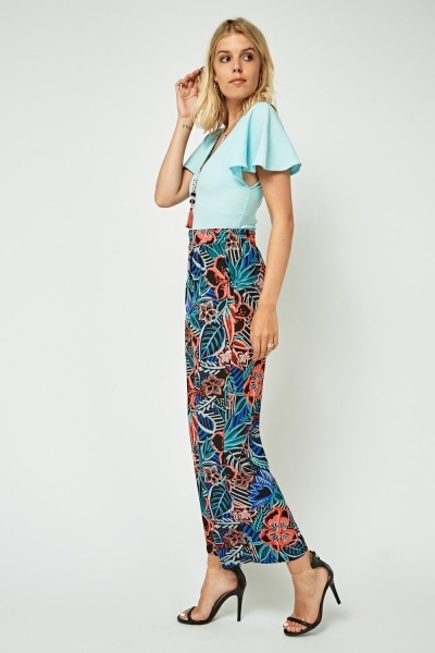 Textured Flower Print Wide Leg Trousers
