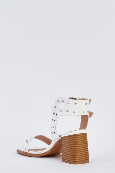 Block Heel Faux Leather Sandals