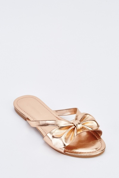 Bow Metallic Flat Sandals