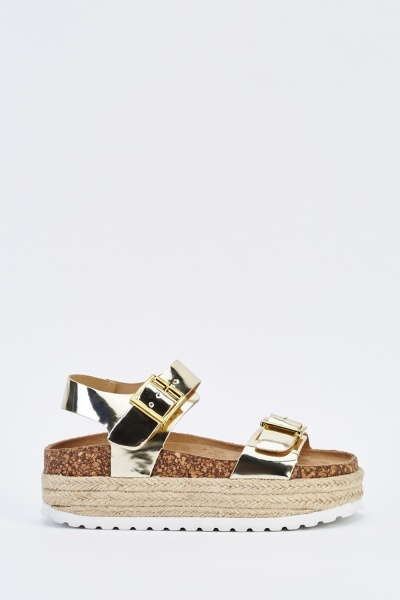 Chunky Metallic Espadrille Sandals
