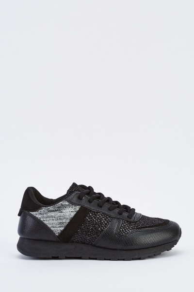 Metallic Glittered Contrast Trainers