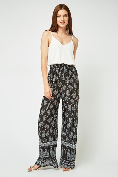 Elephant Printed Wide Leg Trousers