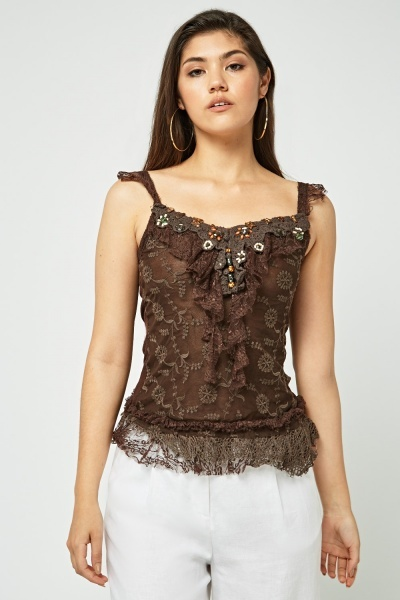 Embellished Lace Crochet Trim Cami Top